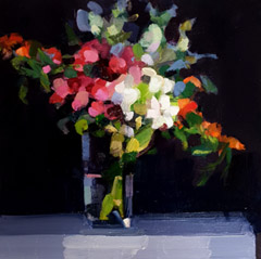 Bairbre Duggan, November Posy, Oil on panel in white wooden frame, 30x30 cm, €.895,-