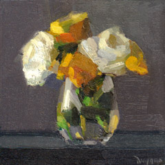 Bairbre Duggan, Garden Flowers, Oil on panel (no frame), 20x20x2 cm, €.395,-
