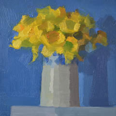 Bairbre Duggan, Daffodils, Oil on panel No frame, 20x20 cm, €.400,-