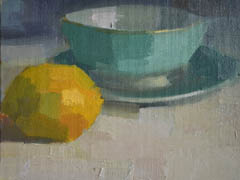 Bairbre Duggan, Lemon and bowl, oil on panel in frame, 15x20 cm, €.320,-
