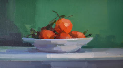 Bairbre Duggan, Mandarins, Oil on panel in frame, 24x43 cm, €.1050,-