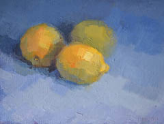 Bairbre Duggan, Three lemons, Oil on panel in frame, 18x24 cm, €.420,-