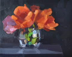 Bairbre Duggan, Bloeiende tulpen, Oil on panel in frame, 20x24 cm, €.480,-