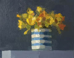 Bairbre Duggan, Daffodils/striped, Oil on wood (no frame), 20x25 cm, €.450,-