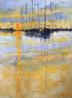 Ineke Mahieu, Sunset in the harbour, Oil on wood, 18x24 cm, €.250,-