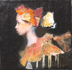 Veronique Paquereau, Carnaval, Mixed Media on canvas, 10x10 cm, €.90,-