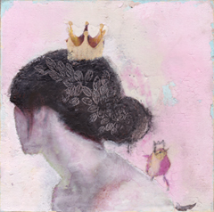 Veronique Paquerau, La vie en rose 4, Mixed Media on canvas, €.195,-, 20x20x4 cm