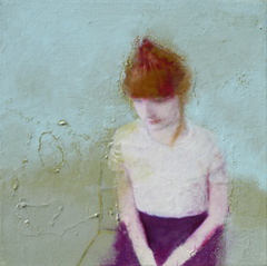 Veronique Paquereau, Waiting for you, Gemengde techniek op doek, 30x30 cm, €.250,-