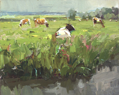 Roos Schuring, LSP13 white cow in meadow, Oil on canvas, 24x30 cm, €.900,-