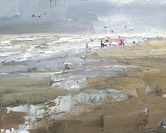 Roos Schuring, SA10 seascape plein air beautiful grey day... , Oil on canvas, 24x30 cm, €.900,-
