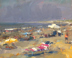 Roos Schuring, SSU02 seascape summer beach , Oil on canvas, 24x30 cm, €.900,-