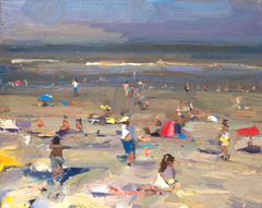 Roos Schuring,SSU09 seascape bright morning happy beach , Oil on canvas, 24x30 cm, €.900,-