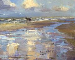 Roos Schuring, SSU09 Seascape-Morning-Cloud-Reflections-and-Horse-Carriage, Oil on canvas in frame, 23x30 cm, €.950,-
